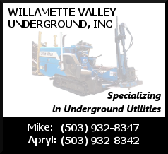 Willamette Valley Underground Specializes in Underground Utilities - Contact Mike at 503-932-8347 or Apryl at 503-932-8342